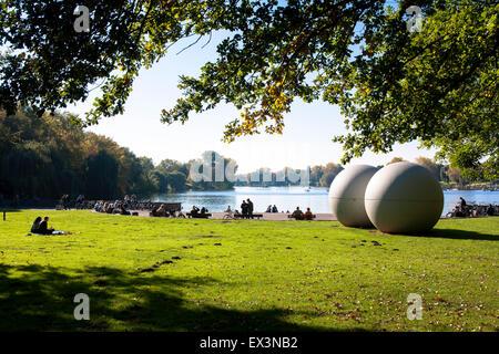DEU, Germany, North Rhine-Westphalia, Muenster, Giant Poolballs by Claes Oldenburg at lake Aa.  DEU, Deutschland, - Stock Photo
