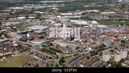 aerial skyline view of the Potteries town of Stoke on Trent, Staffordshire, UK - Stock Photo