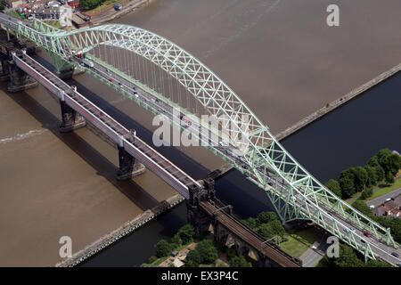 aerial view of Runcorn Bridge in Cheshire, UK - Stock Photo