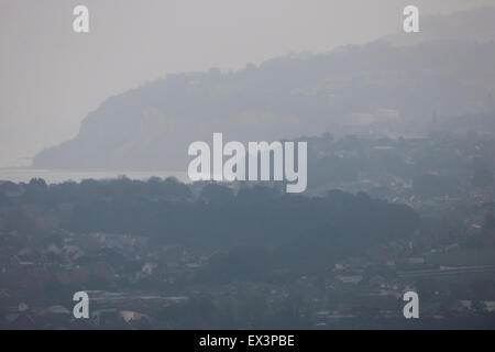 Misty morning over Sandown and Shanklin, Isle of Wight, England, UK. - Stock Photo
