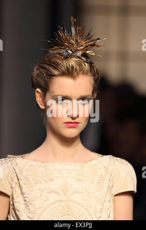 Paris, France. 06th July, 2015. Models wear creations by French designer Bertrand Guyon as part of Schiaparelli - Stock Photo