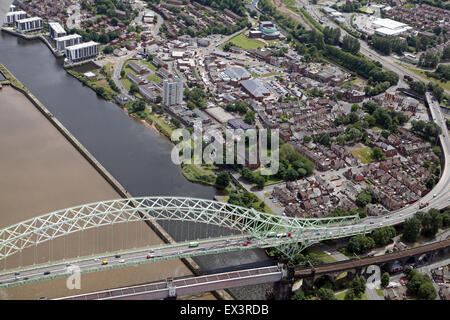 aerial view of Runcorn in Cheshire, UK - Stock Photo