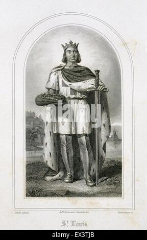 Louis IX or Saint Louis (1214-1270). King of France. Engraving, 19th century. - Stock Photo