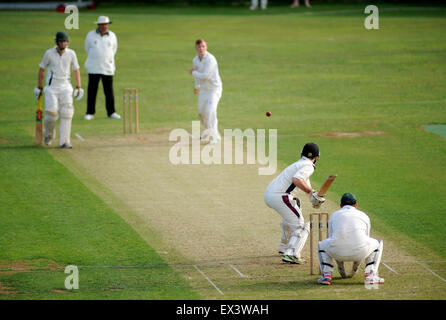 Dorchester, England. 4th July 2015. Action from the Dorset Cricket League match between Martinstown CC v Broadstone - Stock Photo