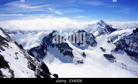 scenery of Valley Titlis snow mountains, Engelberg, Switzerland - Stock Photo