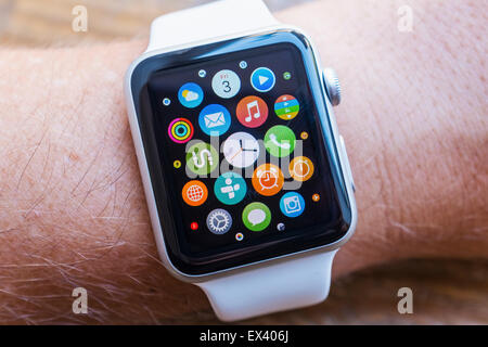 Detail of many apps on screen of an Apple Watch - Stock Photo