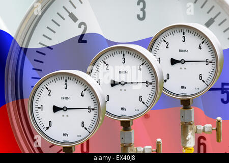 High pressure reading on gas wellhead isolated on flag Russia - Stock Photo