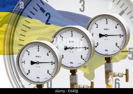 Wellhead Pressure Gauge on flag Ukraine - Stock Photo