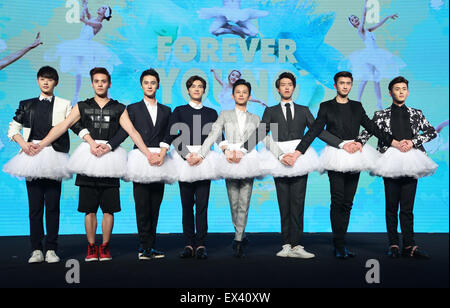Beijing, China. 6th July, 2015. Actors and director of film 'Forever Young' show ballet during the premiere in Beijing, - Stock Photo