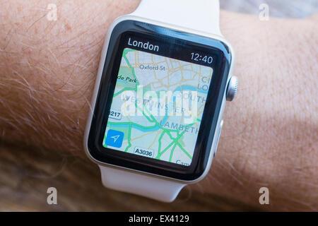 Apple maps navigation app showing London on an Apple Watch - Stock Photo