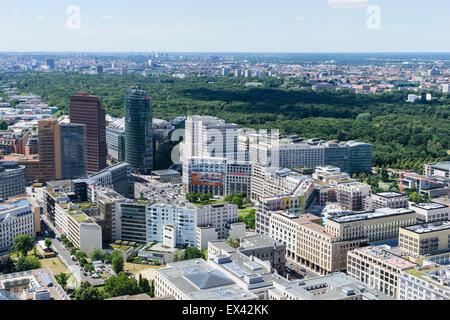 Skyline of Berlin towards Potsdamer Platz and Tiergarten in Germany - Stock Photo
