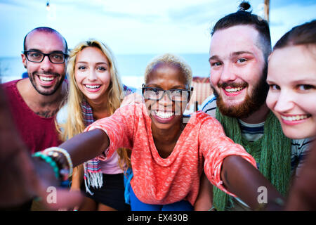 Beach Summer Party Togetherness Selfie Concept - Stock Photo