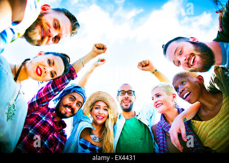 Friends Huddle Join Holiday Party Group Concept - Stock Photo