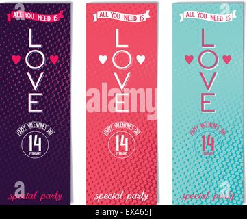 Valentine's day leaflet design for your special party. Vector illustration eps8 - Stock Photo