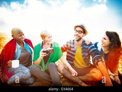 Friends Beach Vacation Relaxing Chilling Concept - Stock Photo