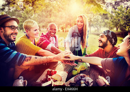 Friends Outdoors Camping Teamwork Unity Concept - Stock Photo
