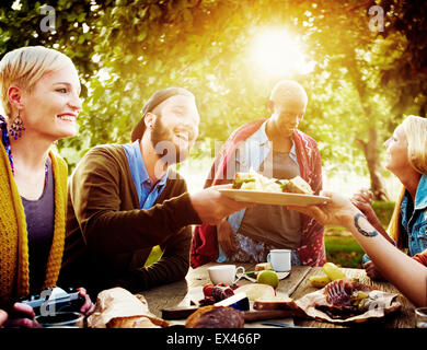 Diverse People Luncheon Outdoors Food Concept - Stock Photo