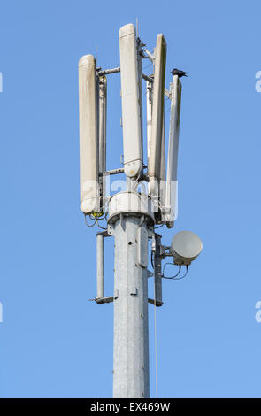 Cellular phone mast against blue sky. Mobile phone mast. Cell phone tower mast in the UK. - Stock Photo