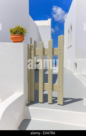 Traditional Greek Cyclades architecture style in Imerovigli, a small town between Fira and Oia on Santorini, Greece - Stock Photo