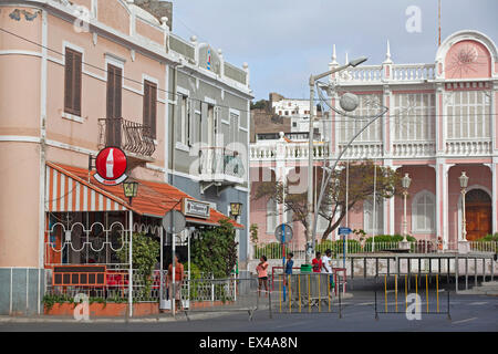 Colonial buildings and the Palácio do Governador / Governor's Palace in city Mindelo on the island São Vicente, - Stock Photo