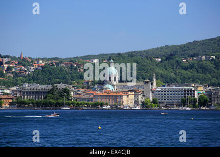 Como town in the Italian lakes with Duomo (cathedral) in view. - Stock Photo