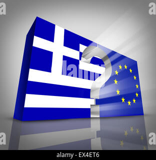 European Greece questions or Greek debt crisis and austerity management concept as a three dimensional blue and - Stock Photo