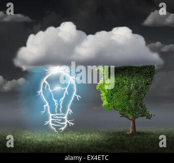 Business idea concept as a tree shaped as a face under a cloud with an electric lightning bolt in the shape of an - Stock Photo