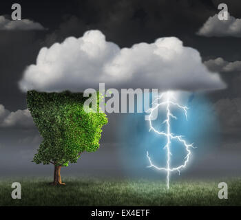Money making idea as a wealth and entrepreneur concept with a tree head in the clouds with a lightning bolt shaped - Stock Photo