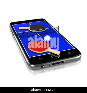 Ping-Pong Table Tennis Field with Ball, Net and Rackets Equipment on Smartphone Display 3D Illustration Isolated - Stock Photo