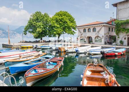CASSONE, ITALY - JUNE 1: Marina in Lake Garda at Cassone, Italy on June 1, 2015. - Stock Photo