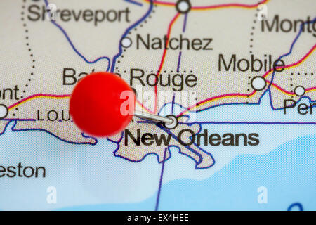 Map Pin Pointing To New Orleans Louisiana USA On A Road Map - Map of new orleans usa