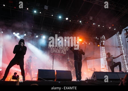 PIESTANY, SLOVAKIA - JUNE 27 2015: American rap rock band band Hollywood Undead performs on music festival Topfest - Stock Photo