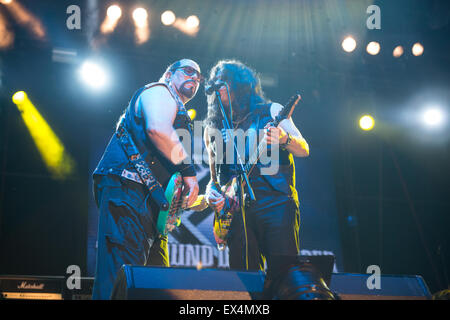 PIESTANY, SLOVAKIA - JUNE 27 2015: American heavy metal band Twisted Sister performs on music festival Topfest in - Stock Photo