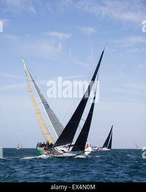 Careek 40 Mk2 GBR844R Rebellion on port tack chases Grand Soleil 56 GBR 563R Shine during the 2015 Round the Island - Stock Photo