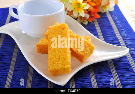 Cake Rusk and Tea Cup - Stock Photo