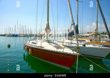 Lausanne, Swiss - Marina in Summer  Boats, cruise ship and