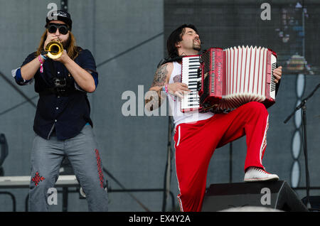 PIESTANY, SLOVAKIA - JUNE 27 2015: Ukrainian rock band Kozak System performs on music festival Topfest in Piestany, - Stock Photo