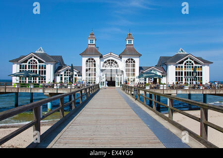 Pier, Sellin, Rügen, Mecklenburg-Western Pomerania, Germany - Stock Photo