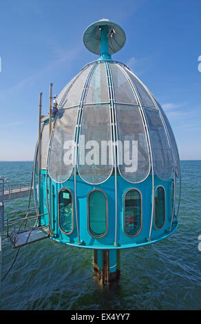 Diving bell at the end of the pier, Sellin, Rügen, Mecklenburg-Western Pomerania, Germany - Stock Photo