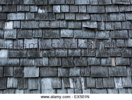 Background of worn-out wooden shingles - Stock Photo