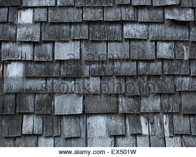 Background of aged wooden shingles - Stock Photo