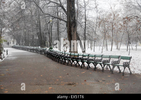 Park During Heavy Snowfall In Winter In Bucharest, Romania - Stock Photo