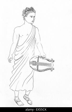 Apollo As Helios Line Drawing Of Greek Roman God Music And Light