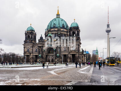 Berlin Cathedral, Berliner Dom.High renaissance Baroque listed protestant church building with green dome, Museum - Stock Photo