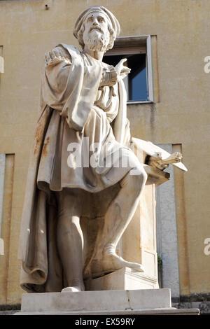 Statue of Girolamo Francesco Maria Mazzola, Parmigianino, in Piazza della Steccata, Parma. - Stock Photo