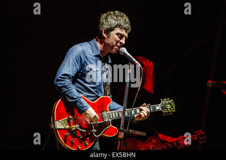 Milan, Italy. 6th July, 2015. Noel Gallagher's High Flying Birds performs live in Milano, Italy, on July 6 2015 - Stock Photo