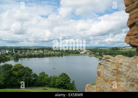 A view on Linlithgow loch from the top of the palace - Stock Photo