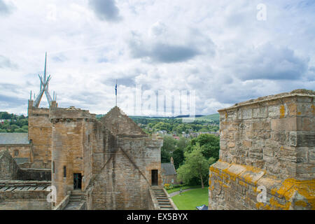 A view on Linlithgow palace from the rooftop of the castle - Stock Photo