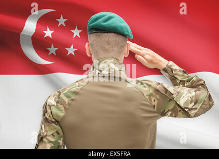 Soldier in hat facing national flag series - Singapore - Stock Photo