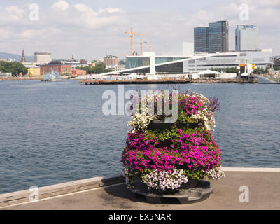 Oslo  harbor and the Opera house, seen from Sorenga, a new residential area direct on the fjord in the Norwegian - Stock Photo